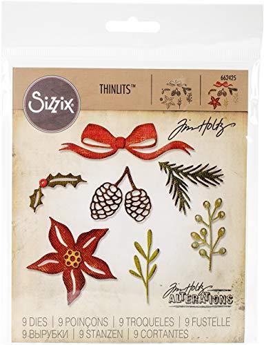 Sizzix 662425 9-Pack, Festive Greens by Tim Holtz Thinlits Die Set, Multi