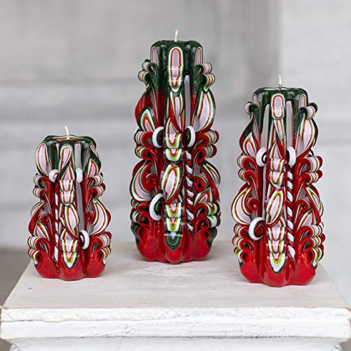 Christmas carved candles - Red Green decoration - Christmas Gift set for home decoration and gift for her and him