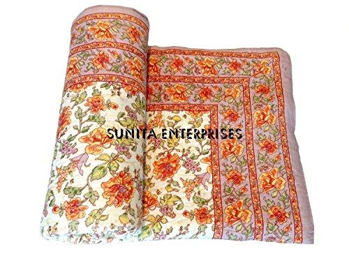 Sunita Enterprises SUNITA ENTERRRISES Presents Indian Cream - Orange Floral Cotton Design Authentic Handmade Rajasthani Single Bed Jaipuri Razai (Sanganeri Quilt, Rajai) with Cotton Filling from