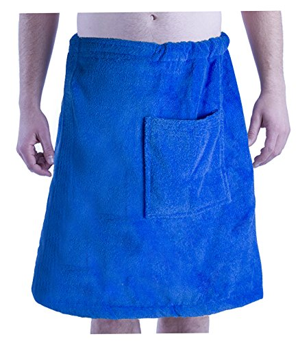 byLora Mens Spa Wrap Towels, Swimming Pool, Beach and Spa Cover Up, One Size, Royal - Cover Up Mens