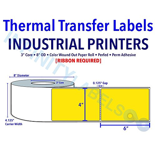 4'' X 6'' Thermal Transfer Pantone Yellow Labels - 3'' Core, 8'' OD - Perfed [610124] by Infinity Labels
