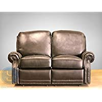 BarcaLounger Premier II Leather Reclining Loveseat - Stetson Coffee (LoveSeat Power Recline)