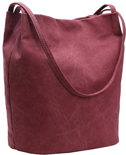 Iswee Canvas Womens Bucket Bag Shoulder Handbags Hobo Ladies Purses Fashion Tote Purse (Wine) ()