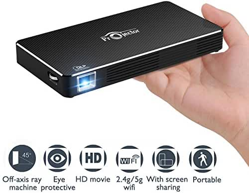 Mobile Pico Video Projector Portable Mini Pocket Size , Rechargeable,HDMI & WIFI Wireless Connectivity for Iphone And Android Support Home Theater