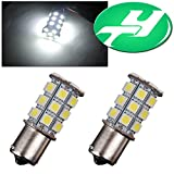 YINTATECH 2X 1156 BA15S 27-SMD 5050 Car RV(DC 12V) Turn Signal Reverse White LED Replacement Bulb Brake Light Lamp Backup Lamps 1141 1003 7506