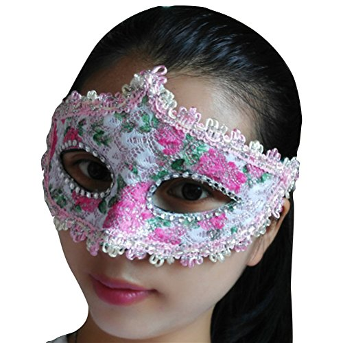 ACE SHOCK Lace Costume Mask for Women Sexy, Halloween Masquerade Elegant Glitter Eye Masks Black White (Pink Floral) -