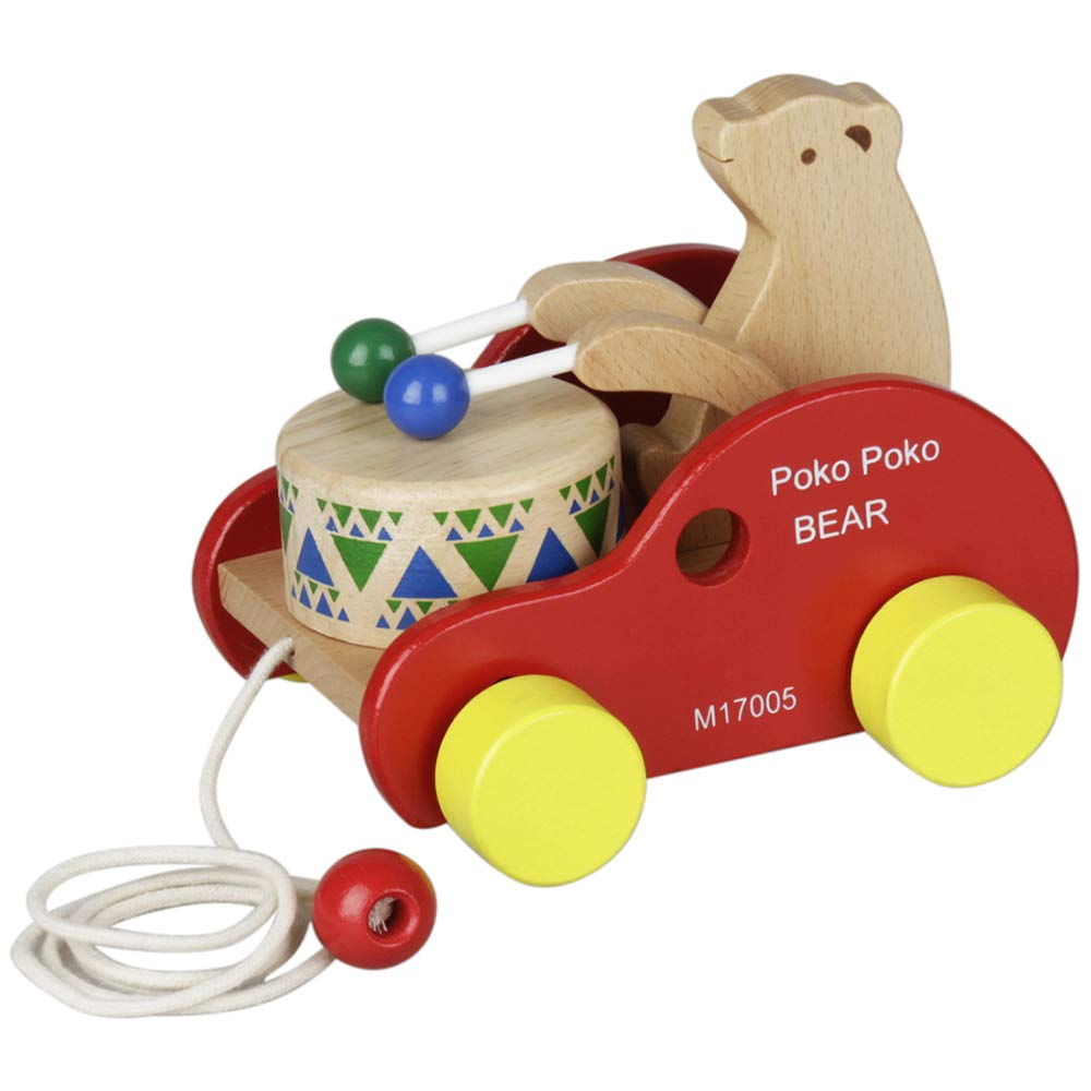 Kalaok Wooden Bear Drum Pull Along Toy Kids Children Muscial Educational Toy Beech Solid Wood Pull Toy for Toddler