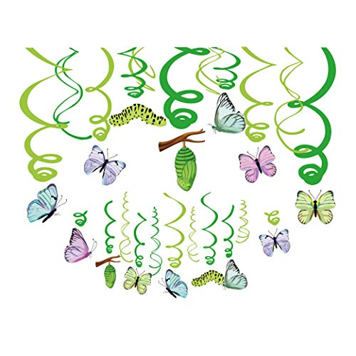 CC HOME 30CT Luau Butterfly Party Decorations ,Butterfly Hawaiian Hanging Swirl Decorations ,Butterfly Ceiling Hanging Streamer Decorations for Boys ,Girls ,Nursery ,Summer Tropical Hawaiian Luau Party ,Fairy Tale Party ,Baby Shower ,Birthday Party Supplies Favor,Multi Color ()