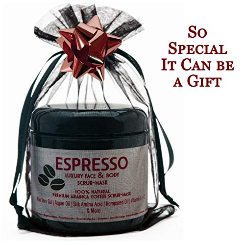 Arabica Coffee Scrub-Premium Face & Body Scrub.Anti-Aging Exfoliating Cleanser & Detoxifying Rhassoul Clay+Dry Skin Moisturizing Essential Oils.Fights Wrinkles & Cellulite.Top Gift Idea for Women, Men