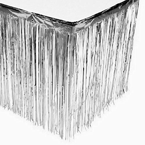 Metallic Silver Foil Fringe Table Skirt Pkg of