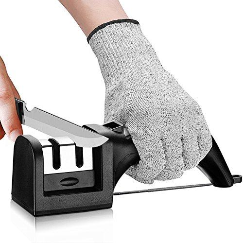 Kitchen Knife Sharpener, 2 Stage Diamond Sharpening System Scissors Fishhook Sharpener Honing Rod Grindstone for Kitchen - Cut-Resistant Glove ()
