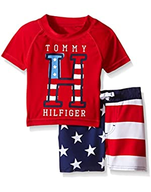Tommy Hilfiger Baby Boys' Rash Guard Top and Flag Print Microfiber Swim Shorts