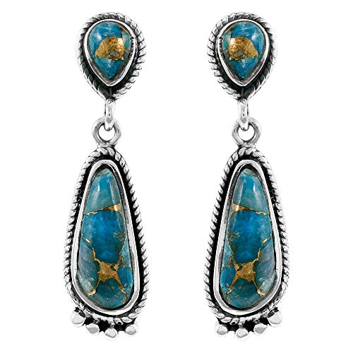 Turquoise Earrings 925 Sterling Silver Genuine Copper-Infused Matrix Turquoise Select style