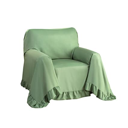 Bon Collections Etc Ruffled Edge Furniture Protector Throw Cover, Sage, Chair