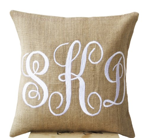 Amore Beaute Handcrafted Burlap Monogram Pillow Covers Embroidered with Three Letters in Cursive Font - Custom Monogrammed Gifts - Initial Cushion Cover- Baby - Wedding Pillow - Boho Chic Natural Burlap Cushion Cover (16 X 16)