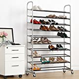 50 Pairs Shoe Rack 10 Tier Metal Shoe Organizer with Non-Slip Rods, Black