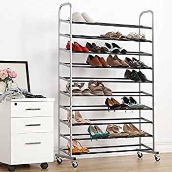 50 pairs shoe rack 10 tier metal shoe organizer with nonslip rods black