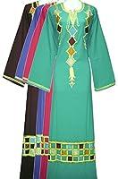 Arabic Islamic Cotton Abaya Chess Embroidery Jilbab Kaftan Hijab In Sizes