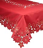 Xia Home Fashions Festive Poinsettia Embroidered Cutwork Christmas Tablecloth, 70 by 144-Inch