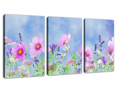 Canvas Wall Art Colorful Flowers Pictures Spa Zen Decor - Simple Life Canvas Art 3 Pieces x 12