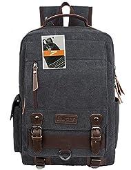 Leaper Retro Canvas Messenger Backpack School Bags for Men Rucksack Daypack Black Large