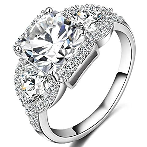 FENDINA Womens 18K White Gold Plated 3 Stone CZ Crystal Eternity Promise Ring Engagement Wedding Bands, Size (Rings Cheap Silver)