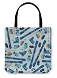 Gear New Shoulder Tote Hand Bag, Sports Pattern With Skiing Equipment Flat Icons, 16x16, 24999GN
