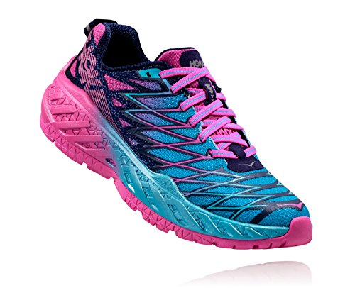 Hoka One One Womens Clayton 2 Running Shoe, Medieval Blue/Fuchsia/Blue Atoll