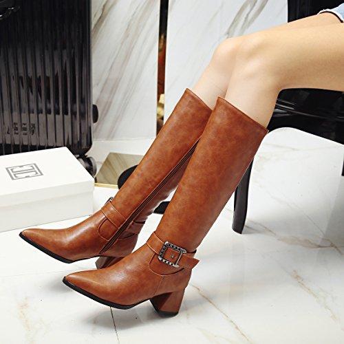 YE Damen Kniehohe Spitze Stiefel Blockabsatz mit High Heels mit Blockabsatz ... aafc50