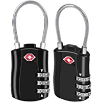 BeskooHome TSA Approved Luggage Locks 3-Dial Travel Luggage Backpack Bag Suitcase lock - Pack of 2 (Black)