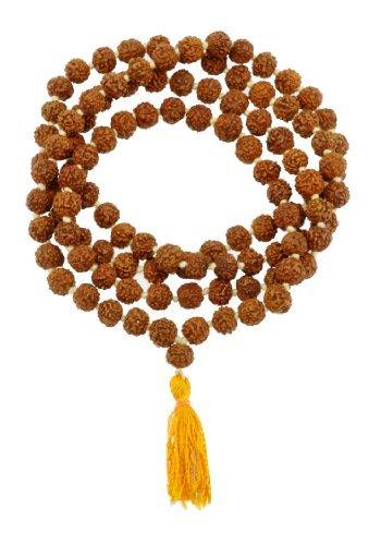 (Tibetan 108 Shiva Yoga Rudraksha Seeds Mala Prayer Beads Necklace (Yellow Tassel Knotted))