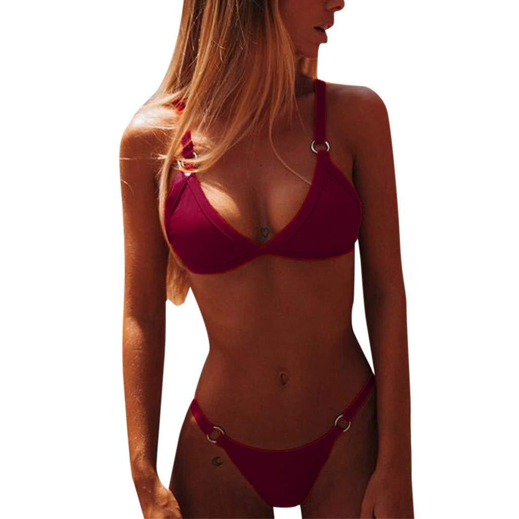 Bikini Trajes de Ba/ño,MISSWongg Bikini Set Borde doblado Traje De Ba/ño Estampado Brasile/ño Corset Lenceria Dos Piezas Conjunto Amarilla Talla Grande Color s/ólido Bikini
