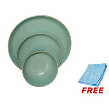 Gibson Home Rockaway 12-Piece Stoneware Dinnerware Set, Service for 4 - Teal Matte + Free Dust Cleaning Cloth