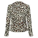 Zalanala Women's Long Sleeve V-neck Leopard Print