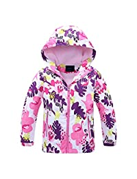 Jingle Bongala Boys Girls Rain Jackets Outdoor Light Waterproof Jackets with Fleece Hooded Coat