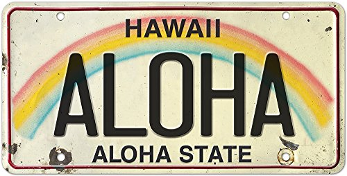 Pacifica Island Art 6in x 12in Vintage Hawaiian Embossed License Plate - Aloha