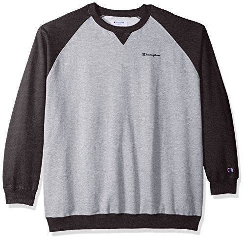 (Champion Men's Big and Tall Fleece Ls Crew Raglan W/Contrast Sleeves, Oxford Heather/Granite, 3X)
