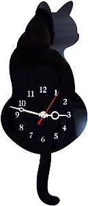 SEADEAR Cat Wall Clock Cat Swinging Tail Silent Wall Clock Acrylic Mute Creative Clock Wag Tail Wand Quartz Cat Wall Clock for Living Room Bedroom Kitchen Home Decor