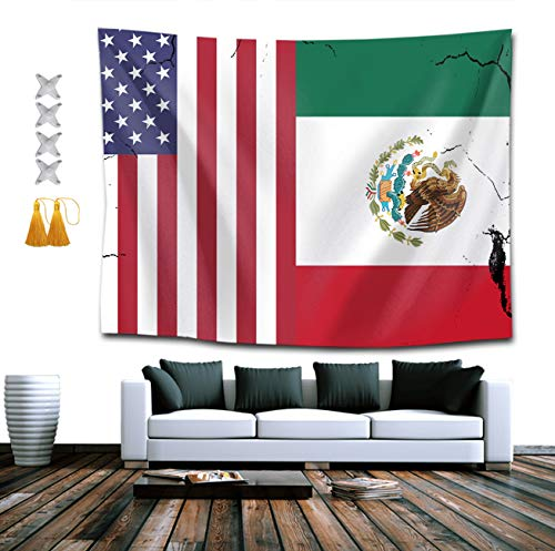 NiYoung USA Mexico Flag Tapestry Hippie Art Tapestry Wall Hanging Home Decor Extra Large tablecloths 60x70 inches for Bedroom Living Room Dorm Room