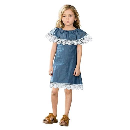 a19a09551d5 Kingspinner Girls Denim Dress Sleeveless Lace Ruffles Summer Sundress  Outfits Clothes (Blue
