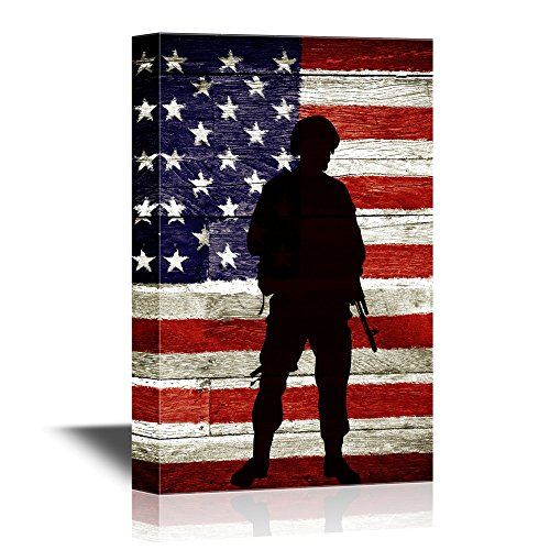 Military Family Soldier with Gun on American Flag Background