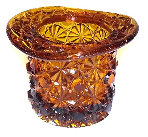 Top Glass Fenton - Anticuria Vintage Fenton Amber Art Glass Top Hat Vase Toothpick Holder