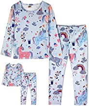 ModaIOO Matching Dolls & Girls Pajamas Dinosaur Mermaid Unicorn Butterfly Long Short Sleeve Sleepwear