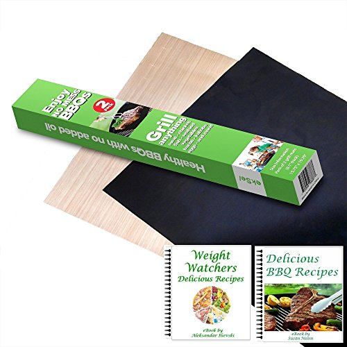 ekSel Grill Oven BBQ Mats & Baking Sheet Cooking Liner Woven Fiberglass Reusable Non Stick 1 Black & 1 Beige; Set of 2 (Oven Baking Paper compare prices)