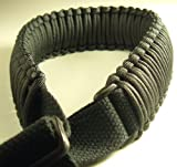 550 lb Paracord Survival 2-Point Gun/Rifle Sling (Black, 1' Wide Canvas)