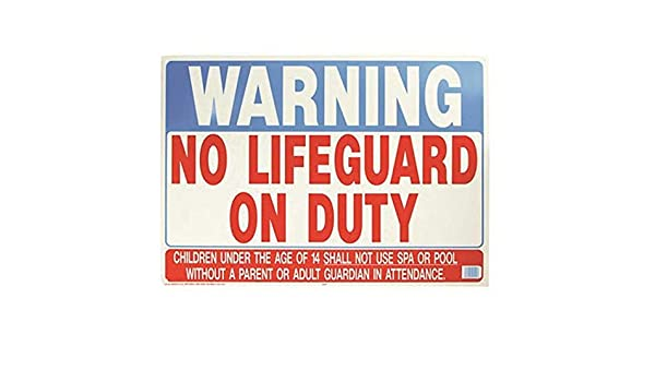 Hy-Ko Products 20401 No Lifeguard Heavy Duty Plastic Sign 20 x 28 Red//Blue