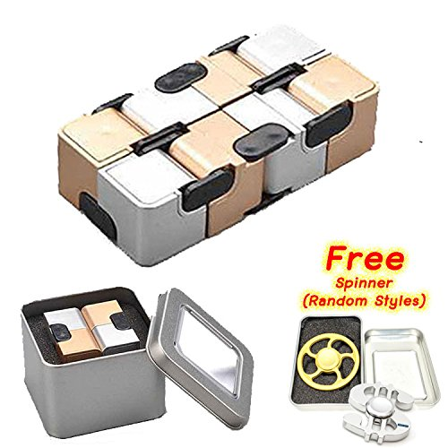 Infinity Cube Gold & Silver with Metal Box Best Anti Stress Toys with Free Gift