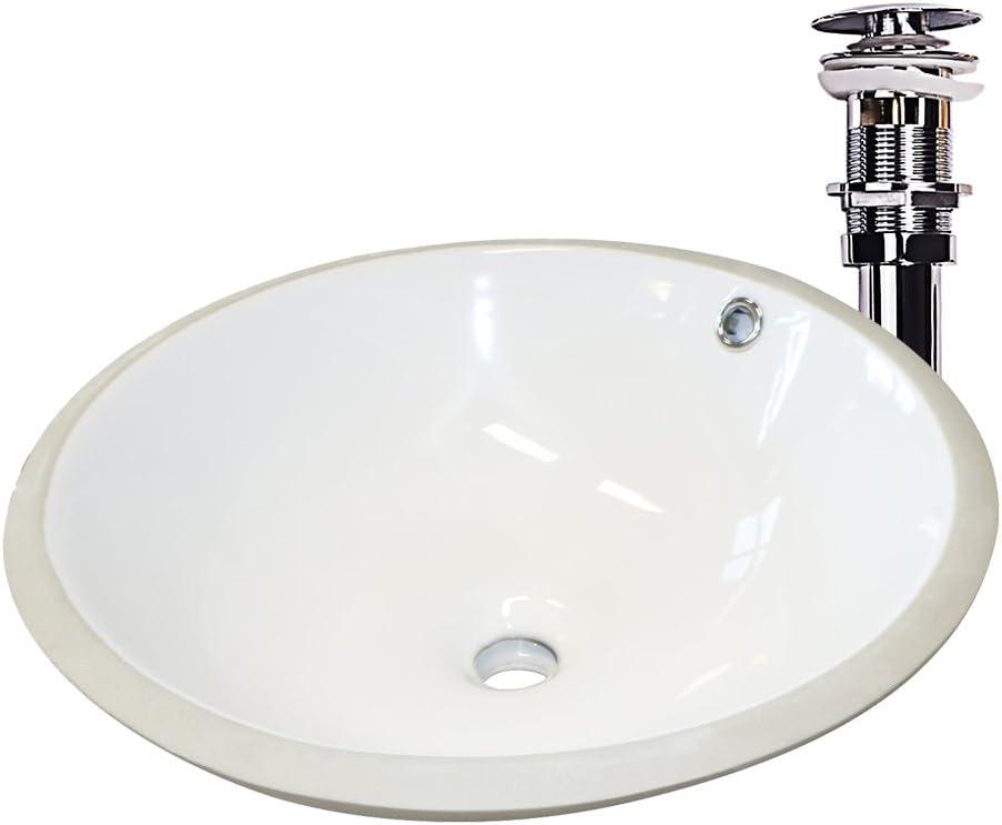 sliverylake 17 inch porcelain undercounter sink lavatory bathroom vanity sink top with overflow chrome pop up drain