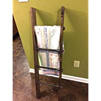 Rustic Industrial Pipe and Wood Blanket Ladder - Wood Quilt Ladder - Rustic Quilt Blanket Ladder - Pipe Decor Blanket Ladder