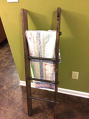 Rustic Industrial Pipe and Wood Blanket Ladder - Wood Quilt Ladder - Rustic Quilt Blanket Ladder - Pipe Decor Blanket Ladder Home Decor and Such